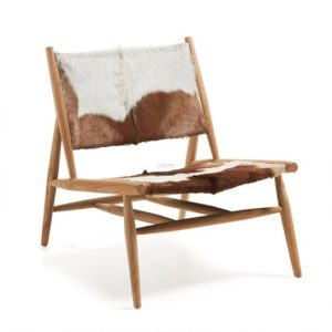 Ike Chair, solid teak w/goat leather seat