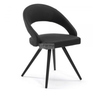 Vivian2 chair upholstered in black synthetic leather