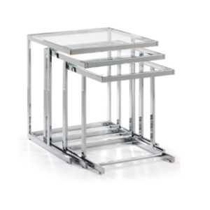 Blair Stainless Steel/Glass nest of tables