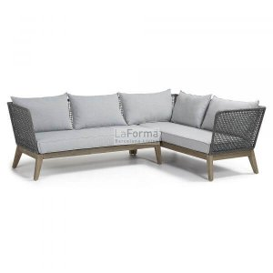 Washed rope corner sofa w/ grey woven fabric & solid acacia frame