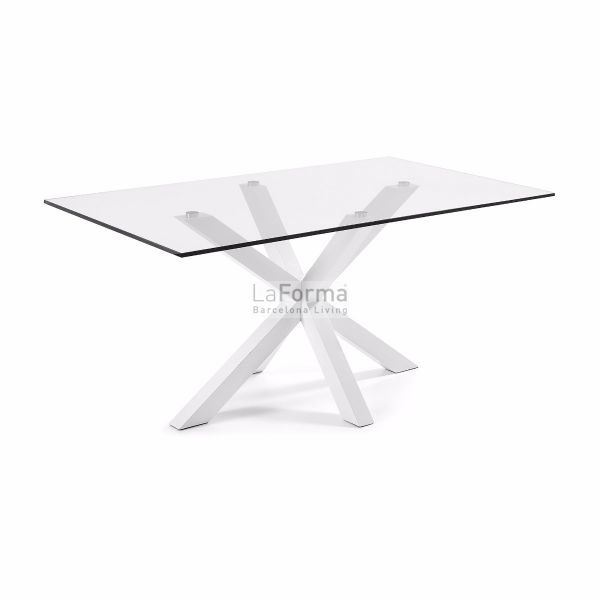 Clear glass top Arya table epoxy white legs