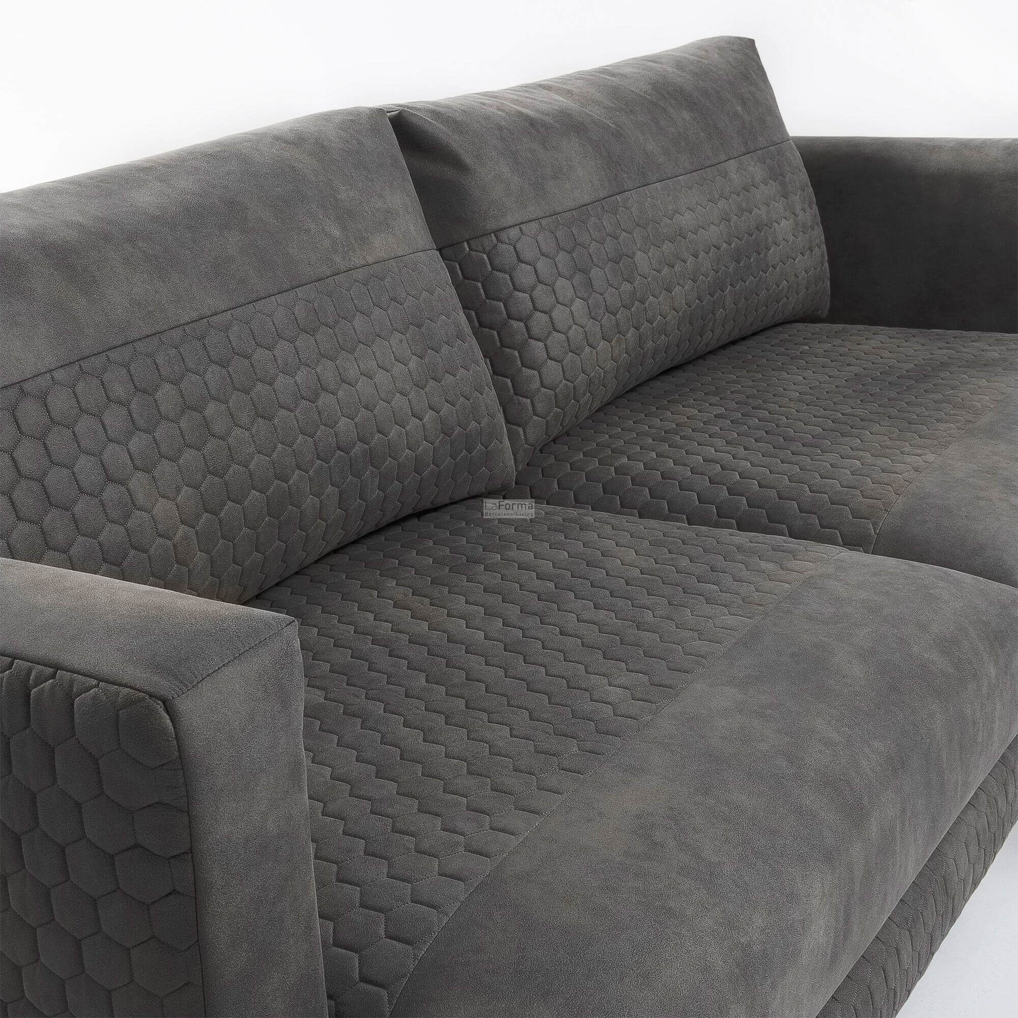 Vinny 3 Seater Sofa In Grey Quilted Fabric With Metal Legs Colour Magic Interior Design