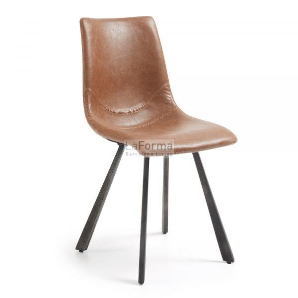 Trac dining chair in Tan pu with black metal legs