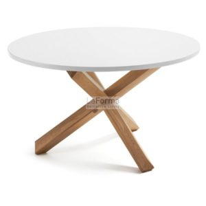 Nori round table 120cm in pure white top and solid oak legs
