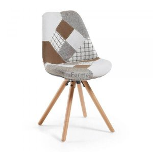 Patchwork Lars in 3-tone brown & light grey fabric, with timber legs