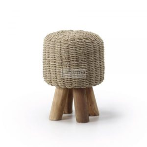 Pinon Stool in teak timber with fibre beige woven seat