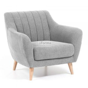 Relax armchair in light grey woven fabric & solid ash timber legs