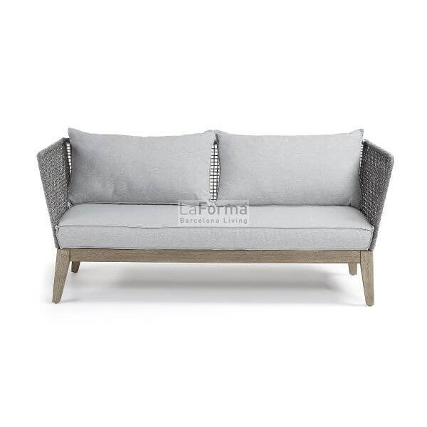 Relax sofa in grey wash rope with grey fabric cushions & acacia ...