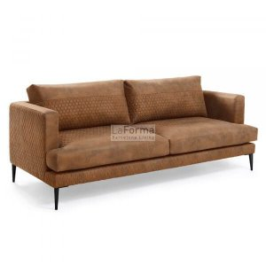 Vinny 3 seater sofa in rust quilted fabric