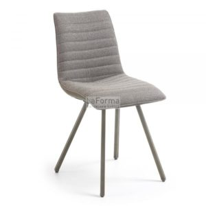 Trass dining chair with taupe fabric seating, PU back & metal legs