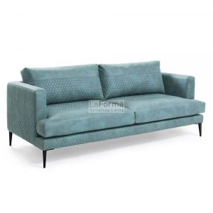Vinny 3 seater sofa in green quilted fabric
